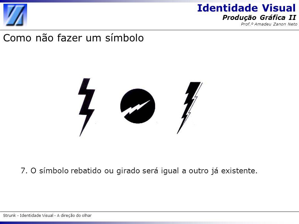 Identidade Visual Strunk - Identidade Visual - A direção do olhar Produção Gráfica II Prof.º Amadeu Zanon Neto Como não fazer um símbolo 7. O símbolo