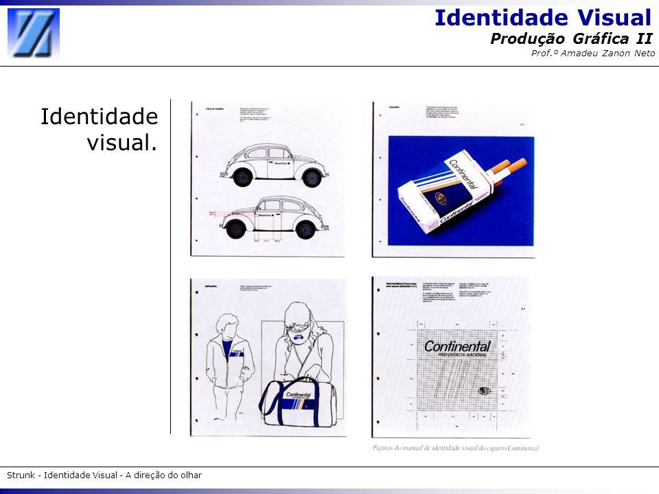 Identidade Visual Strunk - Identidade Visual - A direção do olhar Produção Gráfica II Prof.º Amadeu Zanon Neto Impressos Desde o mais simples cartão de visitas até o mais complexo catálogo, devem apresentar uma relação entre si.