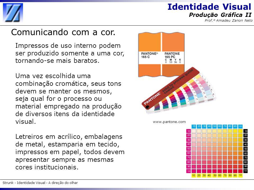 Identidade Visual Strunk - Identidade Visual - A direção do olhar Produção Gráfica II Prof.º Amadeu Zanon Neto Comunicando com a cor. Impressos de uso