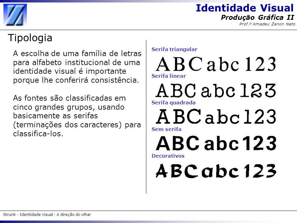 Identidade Visual Strunk - Identidade Visual - A direção do olhar Produção Gráfica II Prof.º Amadeu Zanon Neto Tipologia A escolha de uma família de l