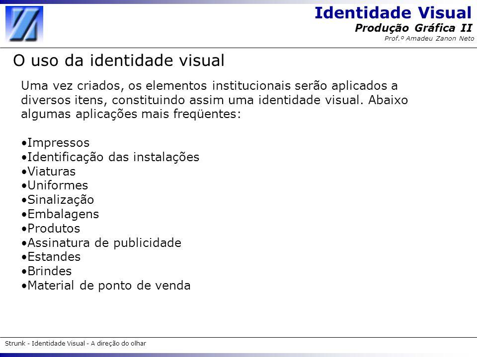 Identidade Visual Strunk - Identidade Visual - A direção do olhar Produção Gráfica II Prof.º Amadeu Zanon Neto O uso da identidade visual Uma vez cria