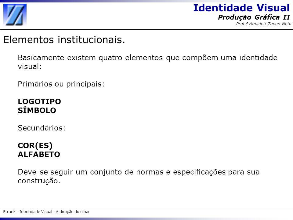 Identidade Visual Strunk - Identidade Visual - A direção do olhar Produção Gráfica II Prof.º Amadeu Zanon Neto Elementos institucionais. Basicamente e