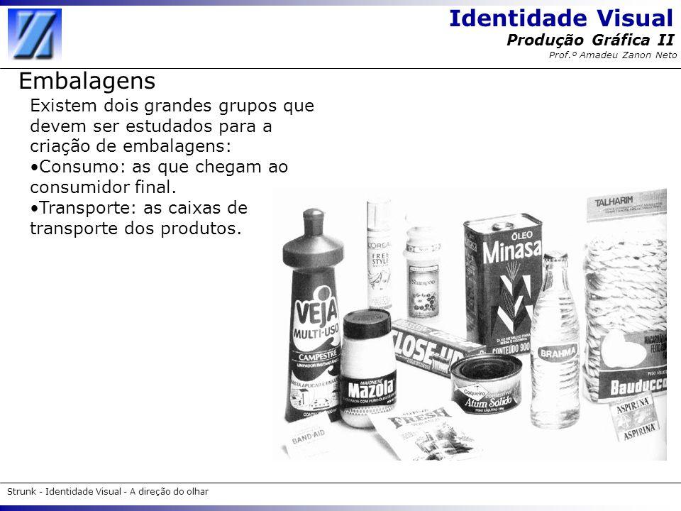Identidade Visual Strunk - Identidade Visual - A direção do olhar Produção Gráfica II Prof.º Amadeu Zanon Neto Embalagens Existem dois grandes grupos