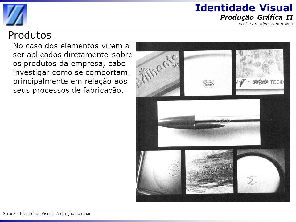 Identidade Visual Strunk - Identidade Visual - A direção do olhar Produção Gráfica II Prof.º Amadeu Zanon Neto Produtos No caso dos elementos virem a