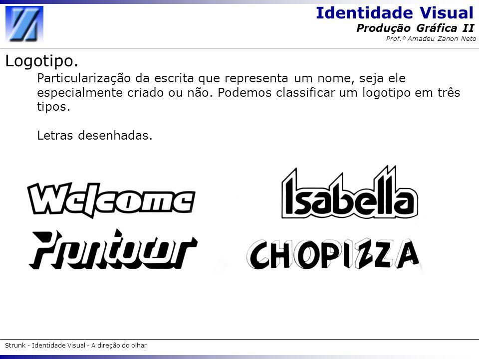 Identidade Visual Strunk - Identidade Visual - A direção do olhar Produção Gráfica II Prof.º Amadeu Zanon Neto Logotipo. Particularização da escrita q