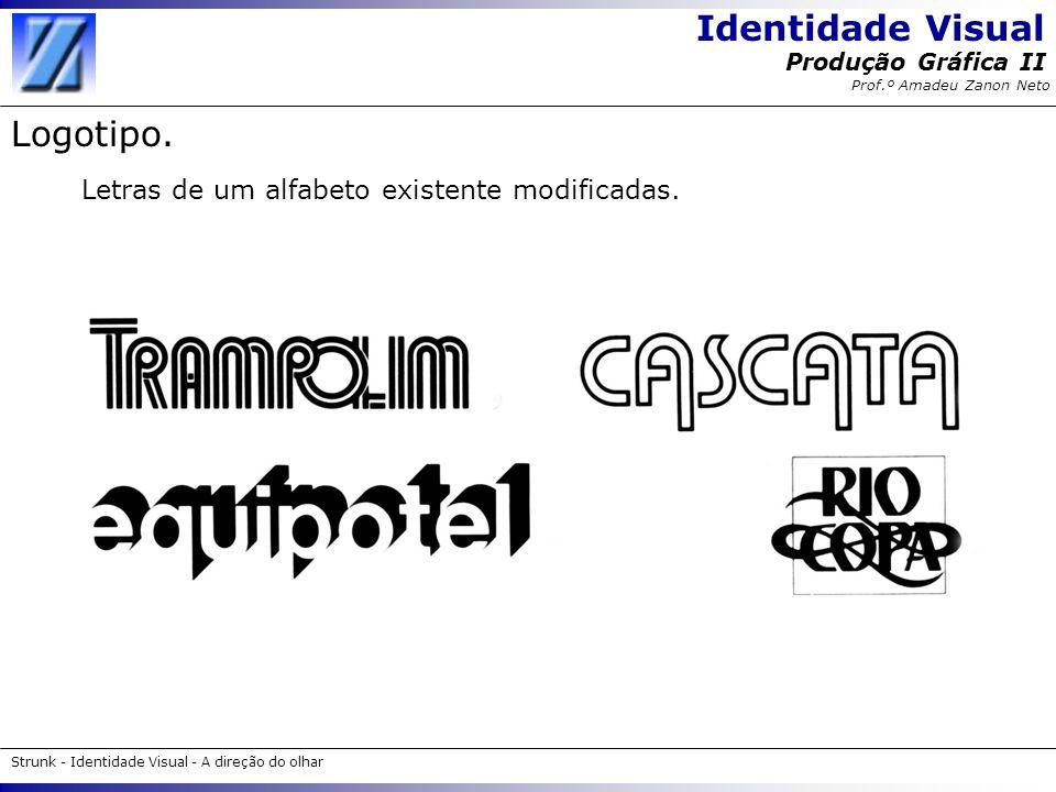 Identidade Visual Strunk - Identidade Visual - A direção do olhar Produção Gráfica II Prof.º Amadeu Zanon Neto Logotipo. Letras de um alfabeto existen