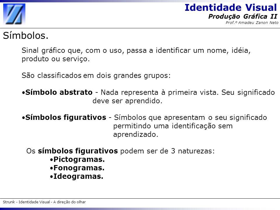 Identidade Visual Strunk - Identidade Visual - A direção do olhar Produção Gráfica II Prof.º Amadeu Zanon Neto Símbolos. Sinal gráfico que, com o uso,