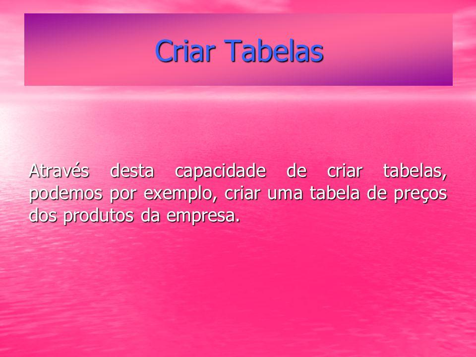 Criar Tabelas Através desta capacidade de criar tabelas, podemos por exemplo, criar uma tabela de preços dos produtos da empresa.
