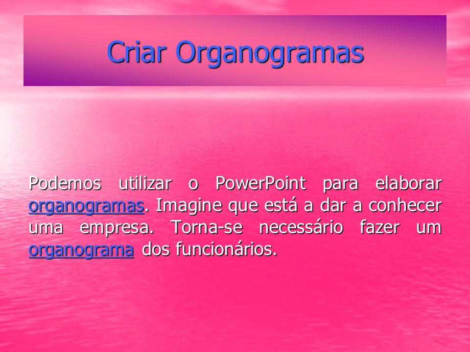 Criar Organogramas Podemos utilizar o PowerPoint para elaborar organogramas.