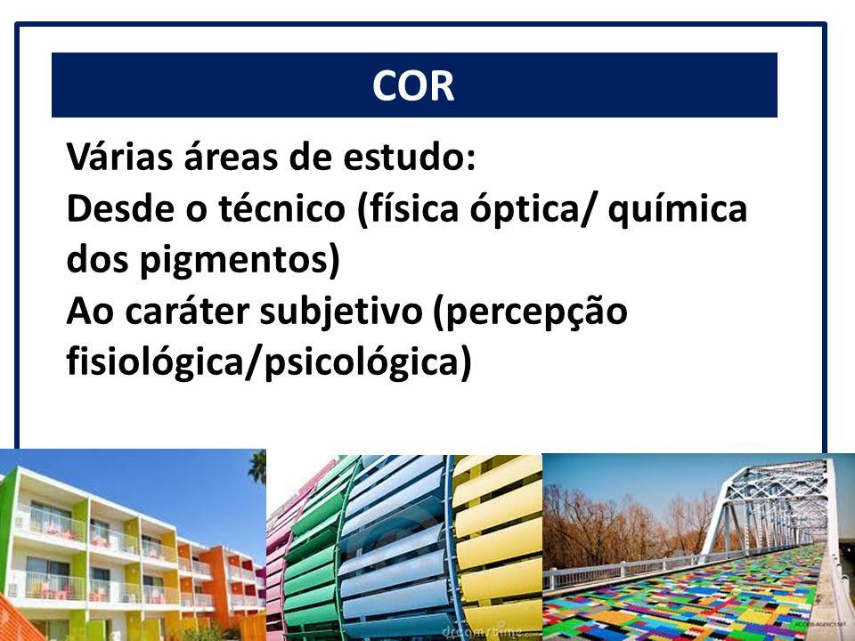 COR Várias áreas de estudo: Desde o técnico (física óptica/ química dos pigmentos) Ao caráter subjetivo (percepção fisiológica/psicológica)