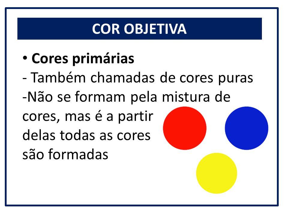 COR OBJETIVA Cores primárias - Também chamadas de cores puras -Não se formam pela mistura de cores, mas é a partir delas todas as cores são formadas
