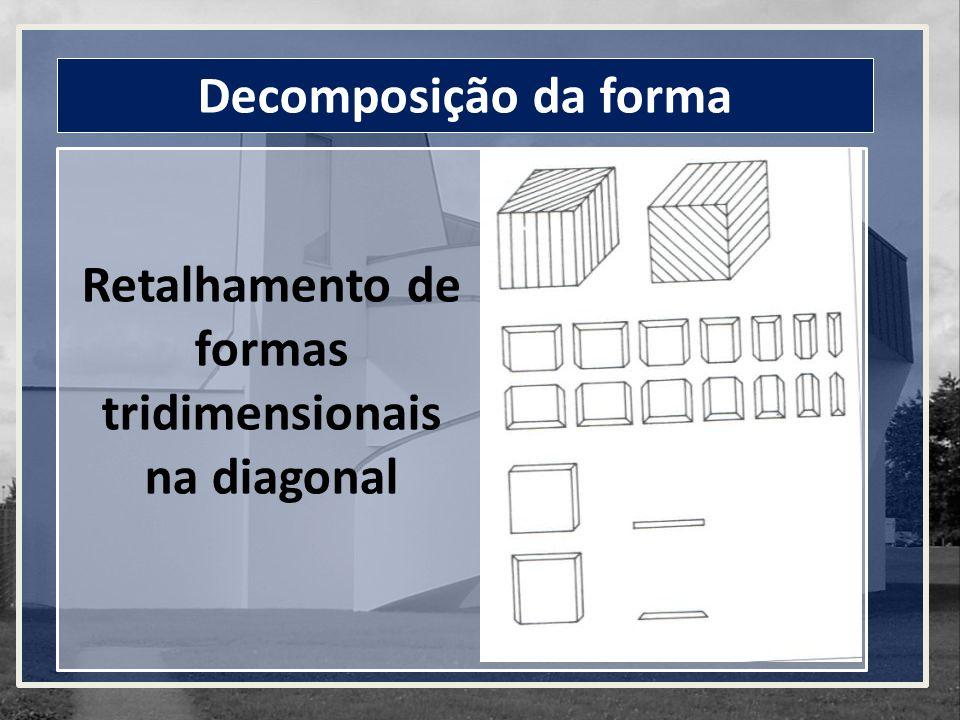 Decomposição da forma Retalhamento de formas tridimensionais na diagonal