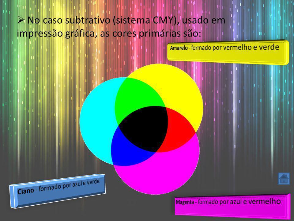 No caso subtrativo (sistema CMY), usado em impressão gráfica, as cores primárias são: