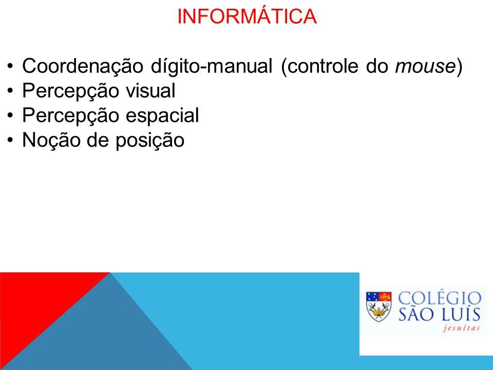 INFORMÁTICA Coordenação dígito-manual (controle do mouse) Percepção visual Percepção espacial Noção de posição