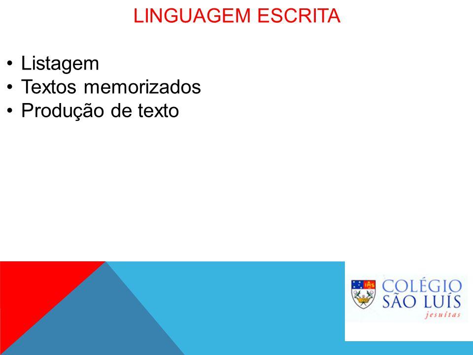 LINGUAGEM ESCRITA Listagem Textos memorizados Produção de texto