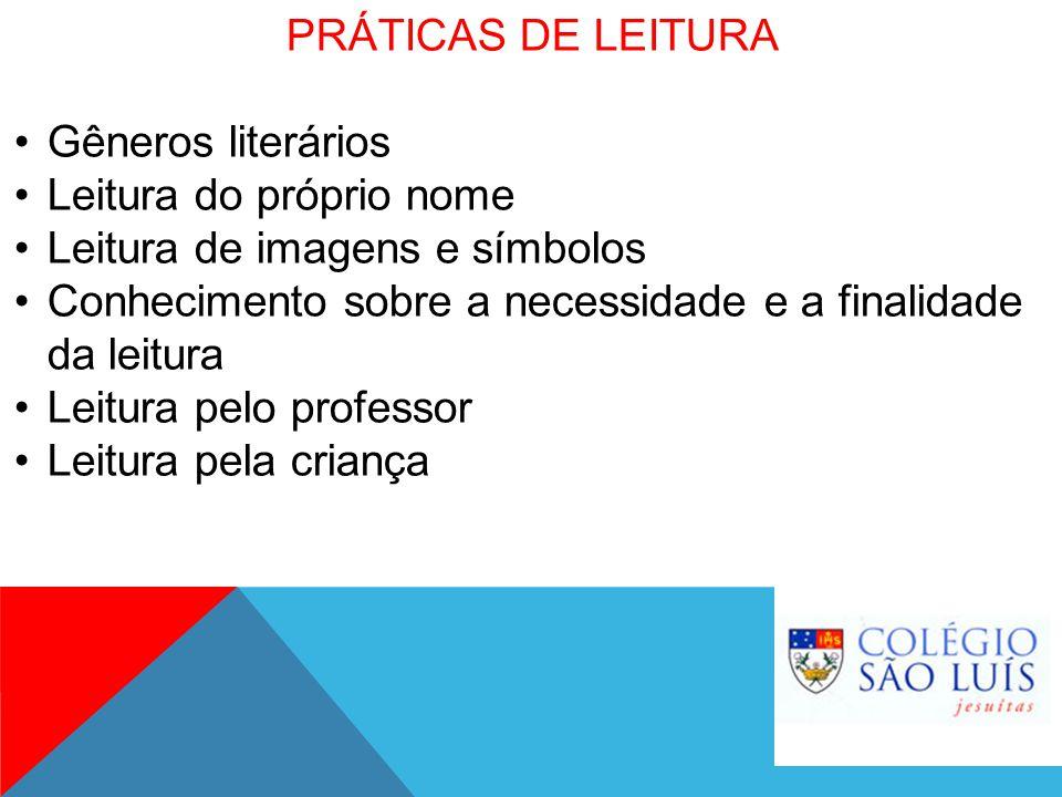 PRÁTICAS DE LEITURA Gêneros literários Leitura do próprio nome Leitura de imagens e símbolos Conhecimento sobre a necessidade e a finalidade da leitur