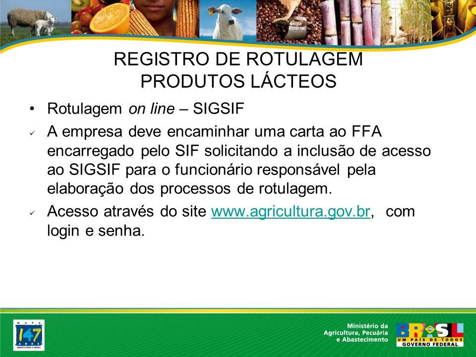 Rotulagem on line – SIGSIF A empresa deve encaminhar uma carta ao FFA encarregado pelo SIF solicitando a inclusão de acesso ao SIGSIF para o funcionário responsável pela elaboração dos processos de rotulagem.