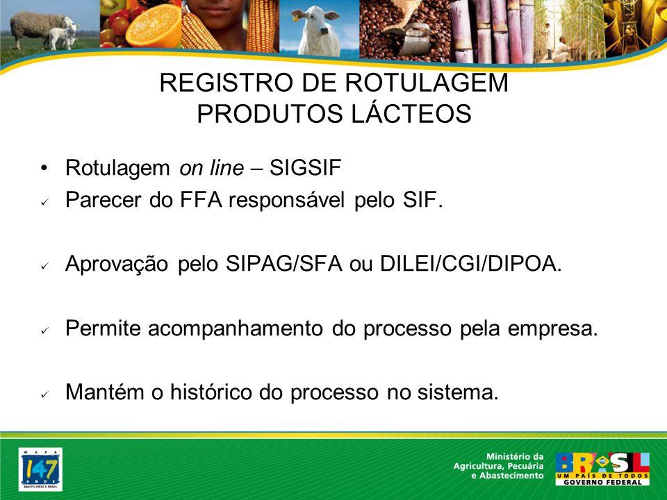Rotulagem on line – SIGSIF Parecer do FFA responsável pelo SIF.