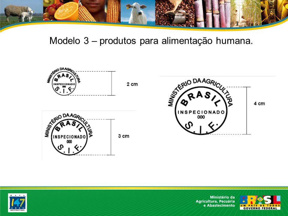 Modelo 3 – produtos para alimentação humana.