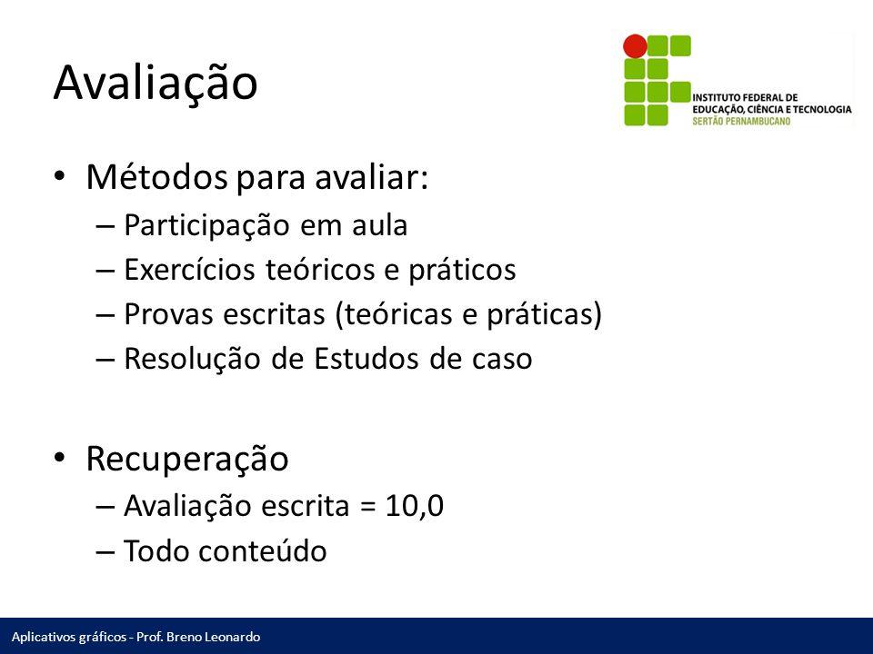 Aplicativos gráficos - Prof.Breno Leonardo Bibliografia HORIE, Ricardo M., PEREIRA, Ricardo.