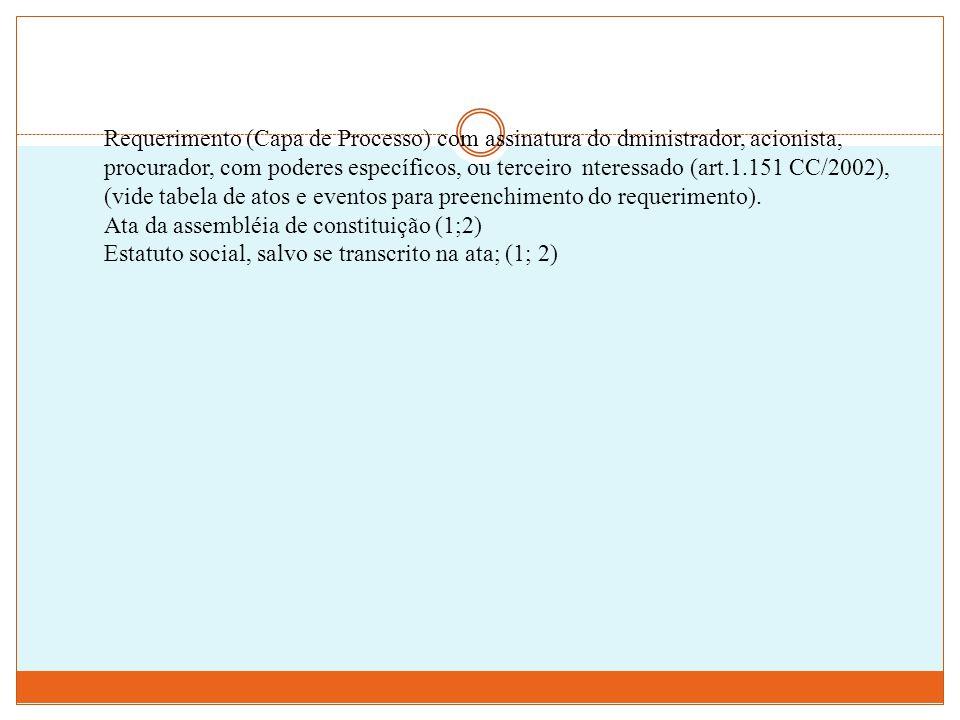 Requerimento (Capa de Processo) com assinatura do dministrador, acionista, procurador, com poderes específicos, ou terceiro nteressado (art.1.151 CC/2