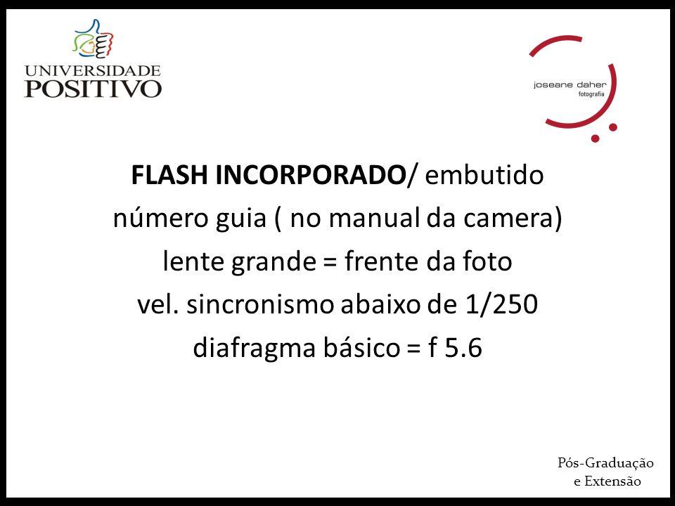 Pós-Graduação e Extensão FLASH INCORPORADO/ embutido número guia ( no manual da camera) lente grande = frente da foto vel.