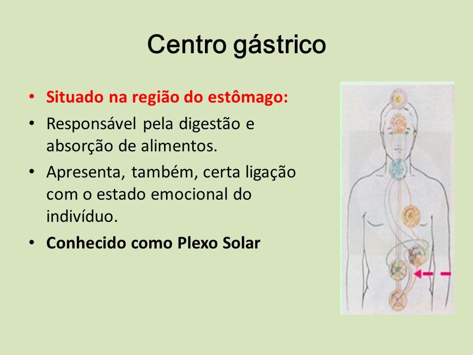 Centro gástrico Situado na região do estômago: Responsável pela digestão e absorção de alimentos.