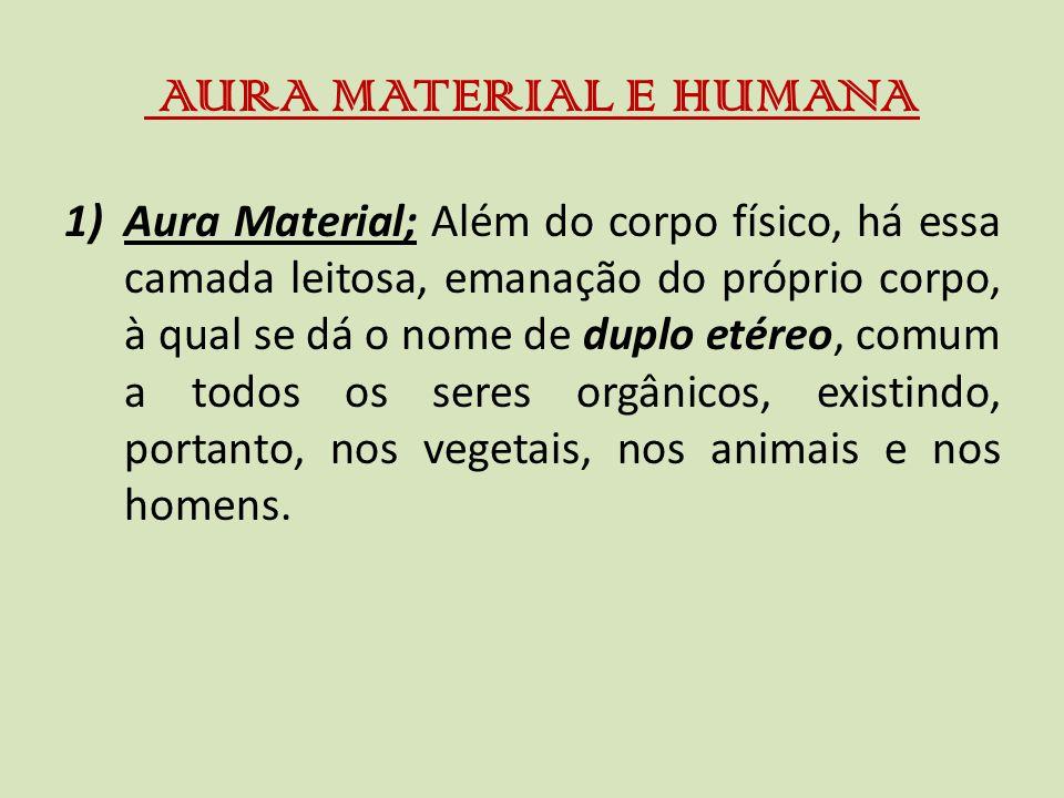 AURA MATERIAL E HUMANA 1)Aura Material; Além do corpo físico, há essa camada leitosa, emanação do próprio corpo, à qual se dá o nome de duplo etéreo, comum a todos os seres orgânicos, existindo, portanto, nos vegetais, nos animais e nos homens.