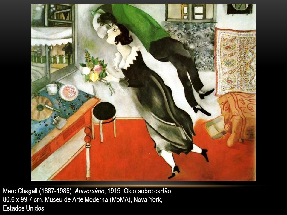 Marc Chagall (1887-1985). Aniversário, 1915. Óleo sobre cartão, 80,6 x 99,7 cm. Museu de Arte Moderna (MoMA), Nova York, Estados Unidos.