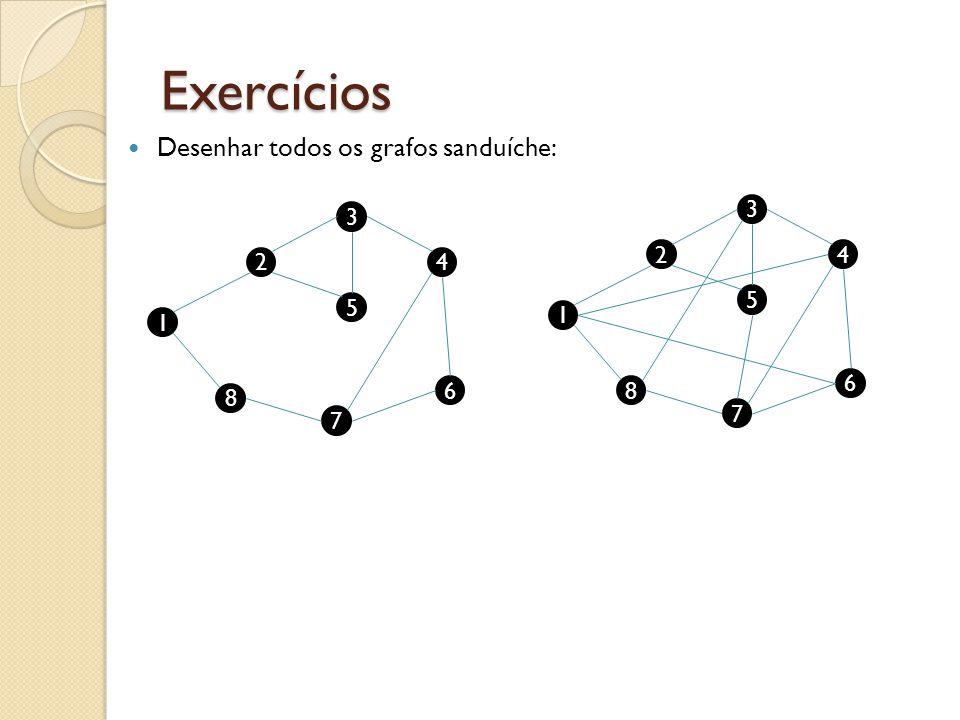Exercícios Desenhar todos os grafos sanduíche: 1 2 8 5 4 6 7 3 1 2 8 5 4 6 7 3