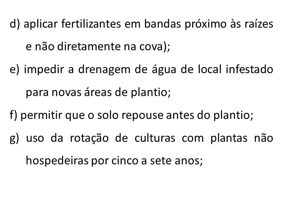 d) aplicar fertilizantes em bandas próximo às raízes e não diretamente na cova); e) impedir a drenagem de água de local infestado para novas áreas de