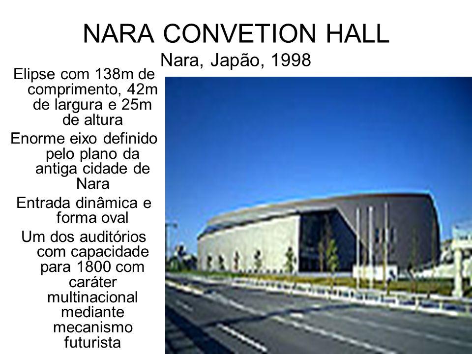 NARA CONVETION HALL Nara, Japão, 1998 Elipse com 138m de comprimento, 42m de largura e 25m de altura Enorme eixo definido pelo plano da antiga cidade
