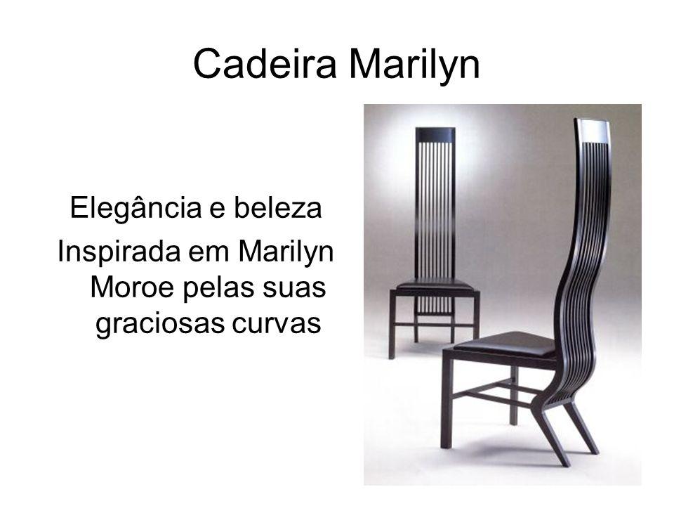 Cadeira Marilyn Elegância e beleza Inspirada em Marilyn Moroe pelas suas graciosas curvas