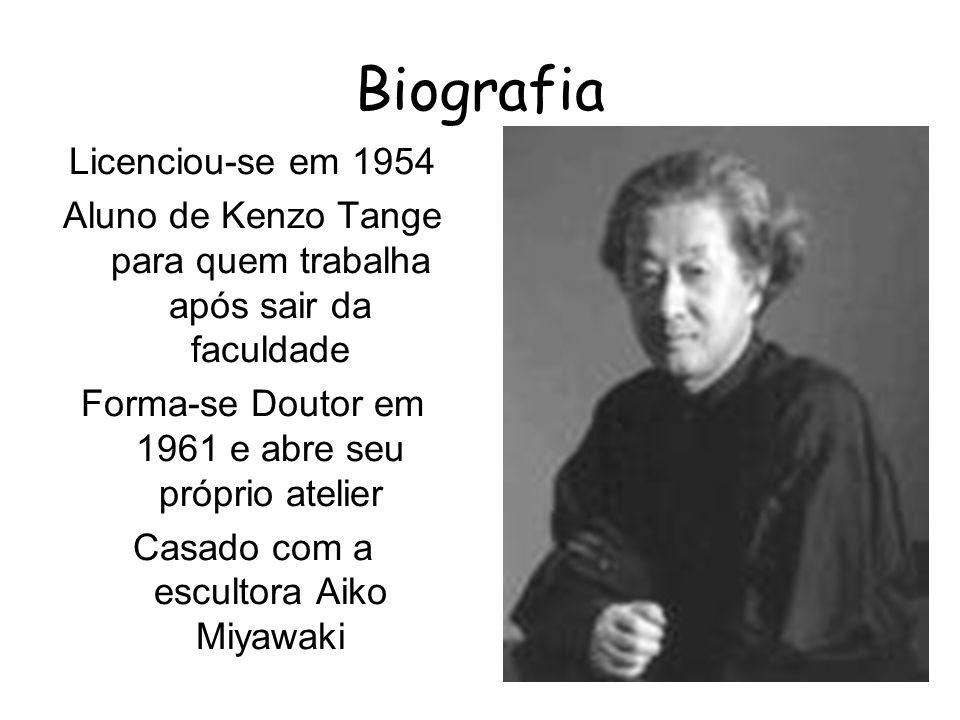 Biografia Licenciou-se em 1954 Aluno de Kenzo Tange para quem trabalha após sair da faculdade Forma-se Doutor em 1961 e abre seu próprio atelier Casad
