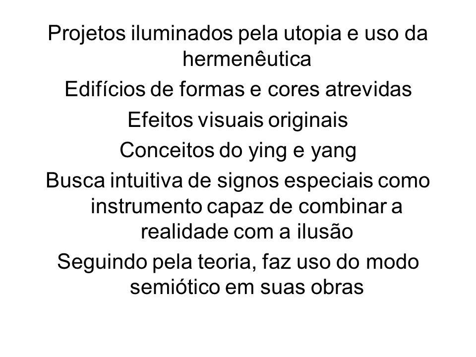 Projetos iluminados pela utopia e uso da hermenêutica Edifícios de formas e cores atrevidas Efeitos visuais originais Conceitos do ying e yang Busca i