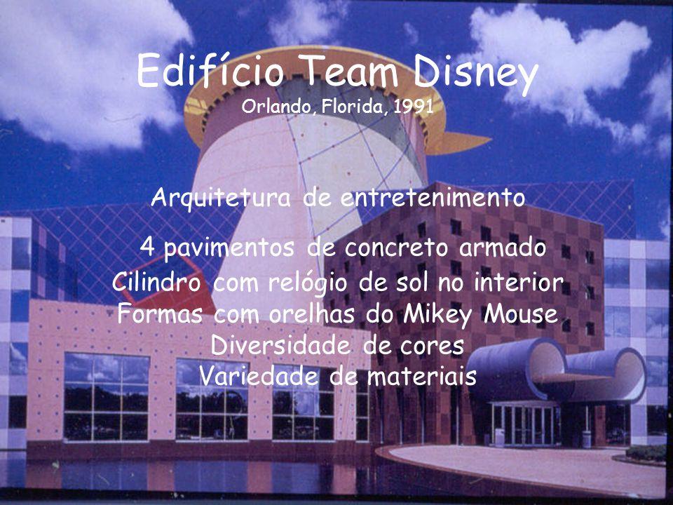 Edifício Team Disney Orlando, Florida, 1991 Arquitetura de entretenimento 4 pavimentos de concreto armado Cilindro com relógio de sol no interior Form