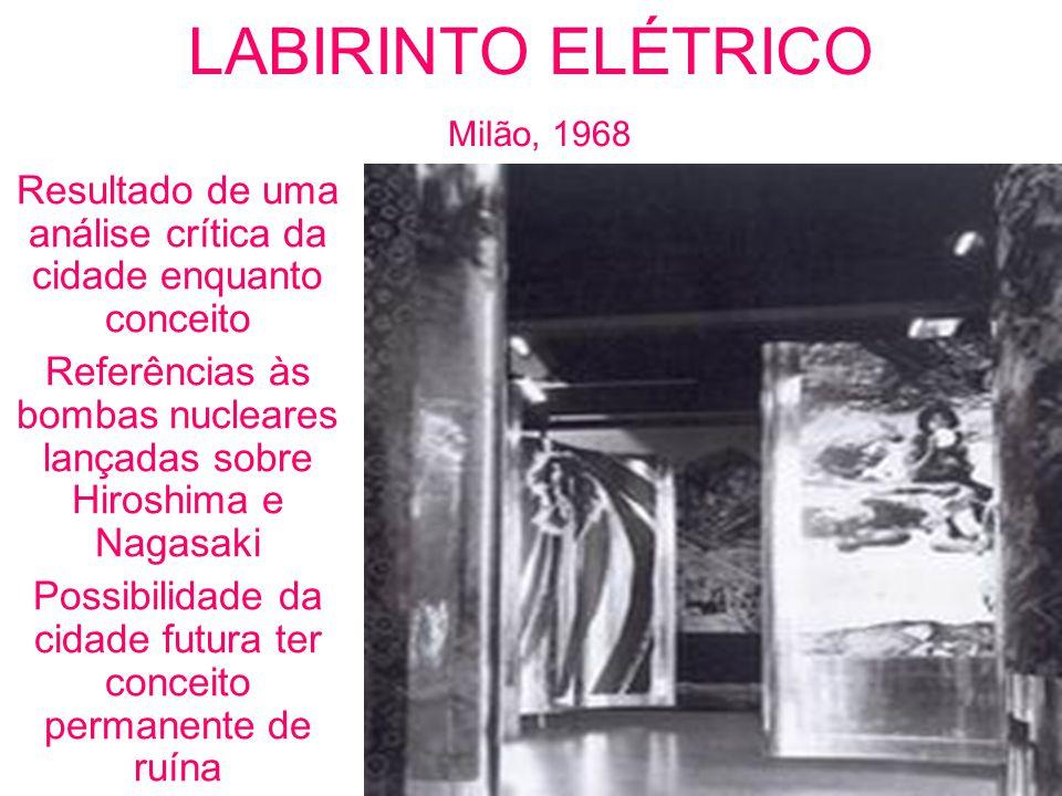 LABIRINTO ELÉTRICO Milão, 1968 Resultado de uma análise crítica da cidade enquanto conceito Referências às bombas nucleares lançadas sobre Hiroshima e