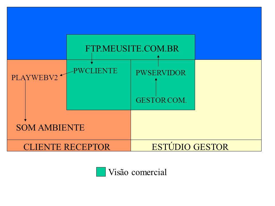 FTP.MEUSITE.COM.BR PWCLIENTE PWSERVIDOR GESTOR COM. PLAYWEBV2 SOM AMBIENTE CLIENTE RECEPTORESTÚDIO GESTOR Visão comercial