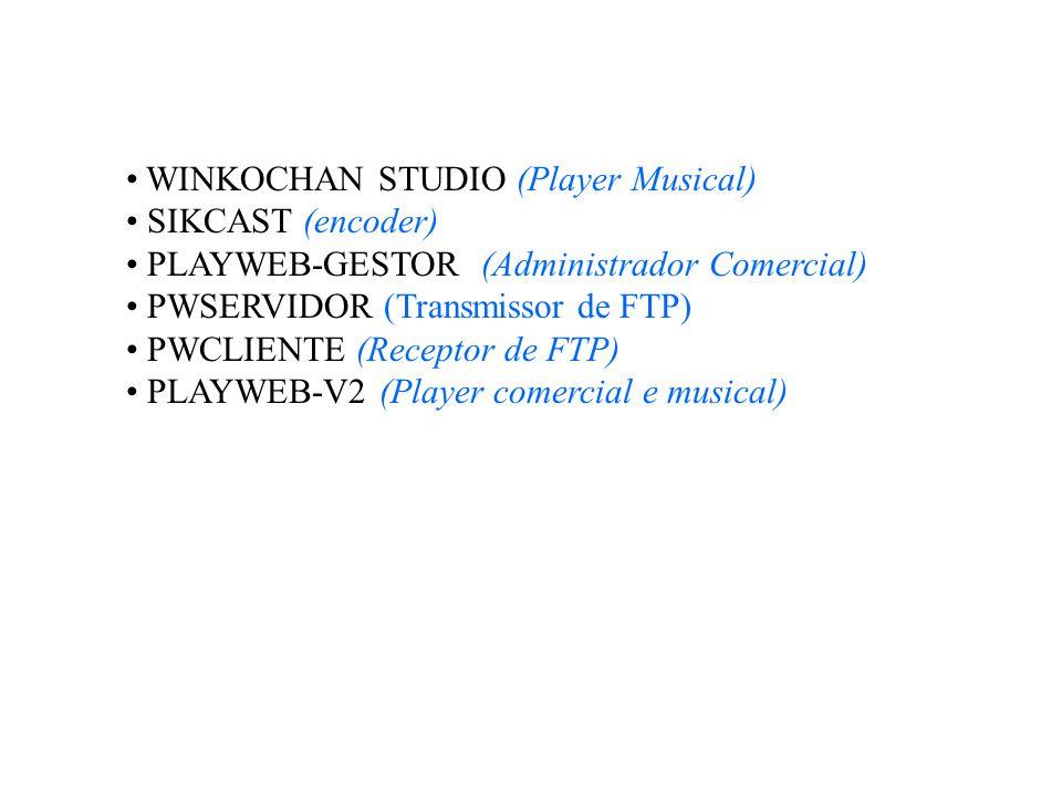 WINKOCHAN STUDIO (Player Musical) SIKCAST (encoder) PLAYWEB-GESTOR (Administrador Comercial) PWSERVIDOR (Transmissor de FTP) PWCLIENTE (Receptor de FT