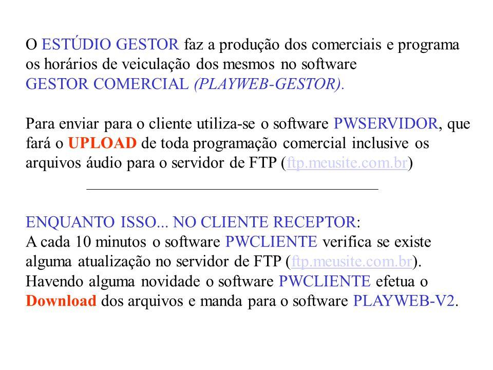 O ESTÚDIO GESTOR faz a produção dos comerciais e programa os horários de veiculação dos mesmos no software GESTOR COMERCIAL (PLAYWEB-GESTOR). Para env