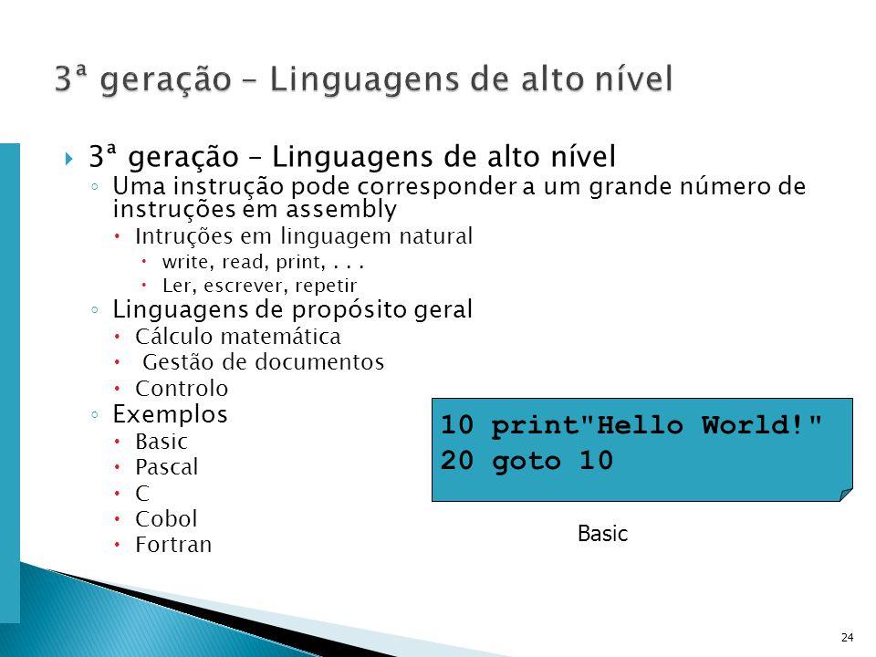 Escola Superior de Tecnologia de Tomar – Departamento de Eng. Informática 3ª geração – Linguagens de alto nível Uma instrução pode corresponder a um g