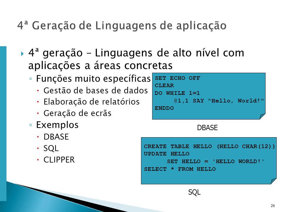 Escola Superior de Tecnologia de Tomar – Departamento de Eng. Informática 4ª geração – Linguagens de alto nível com aplicações a áreas concretas Funçõ