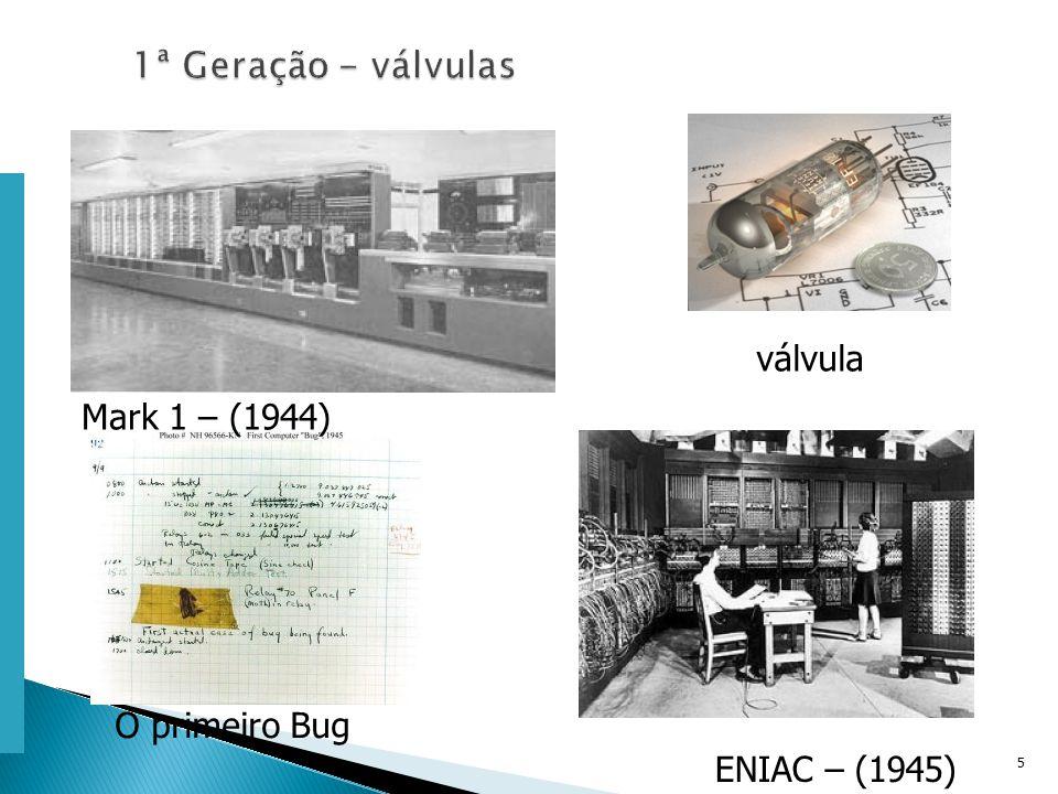 Escola Superior de Tecnologia de Tomar – Departamento de Eng. Informática 5 Mark 1 – (1944) ENIAC – (1945) válvula O primeiro Bug
