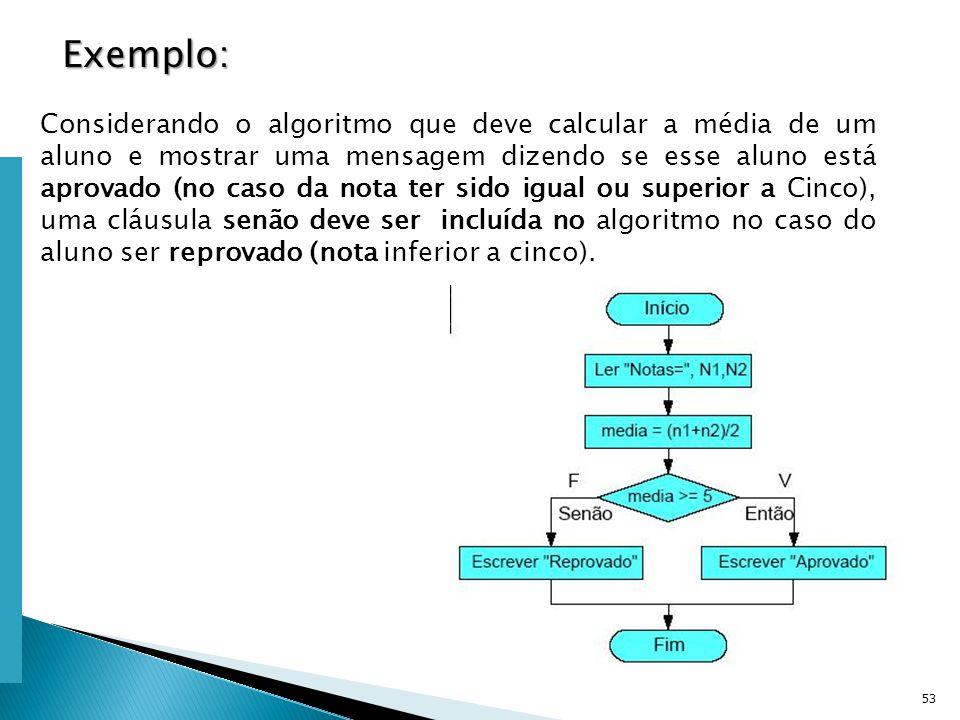 Escola Superior de Tecnologia de Tomar – Departamento de Eng. Informática 53 Considerando o algoritmo que deve calcular a média de um aluno e mostrar