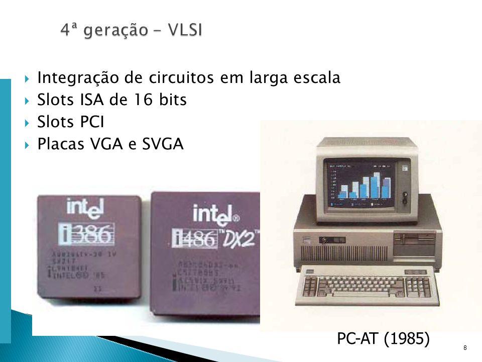Escola Superior de Tecnologia de Tomar – Departamento de Eng. Informática Integração de circuitos em larga escala Slots ISA de 16 bits Slots PCI Placa