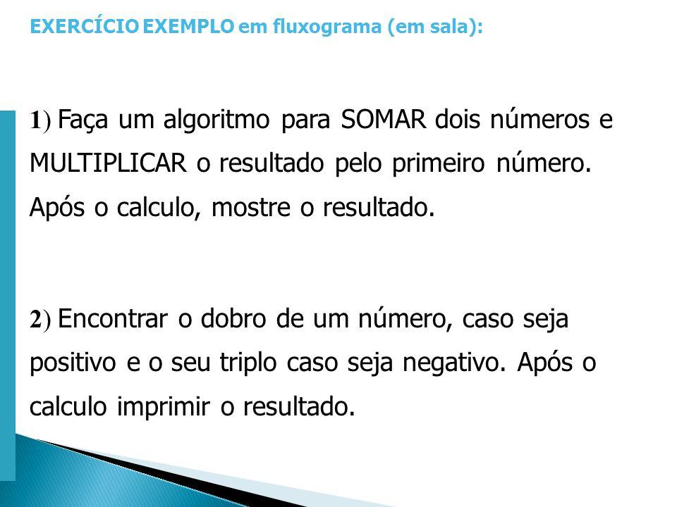 Escola Superior de Tecnologia de Tomar – Departamento de Eng. Informática EXERCÍCIO EXEMPLO em fluxograma (em sala): 1) Faça um algoritmo para SOMAR d