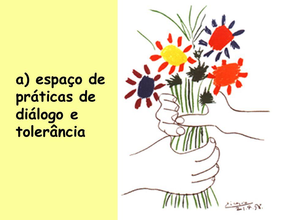 17 a) espaço de práticas de diálogo e tolerância