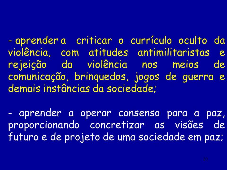 20 - aprender acriticar o currículo oculto da violência, com atitudes antimilitaristas e rejeição da violência nos meios de comunicação, brinquedos, j
