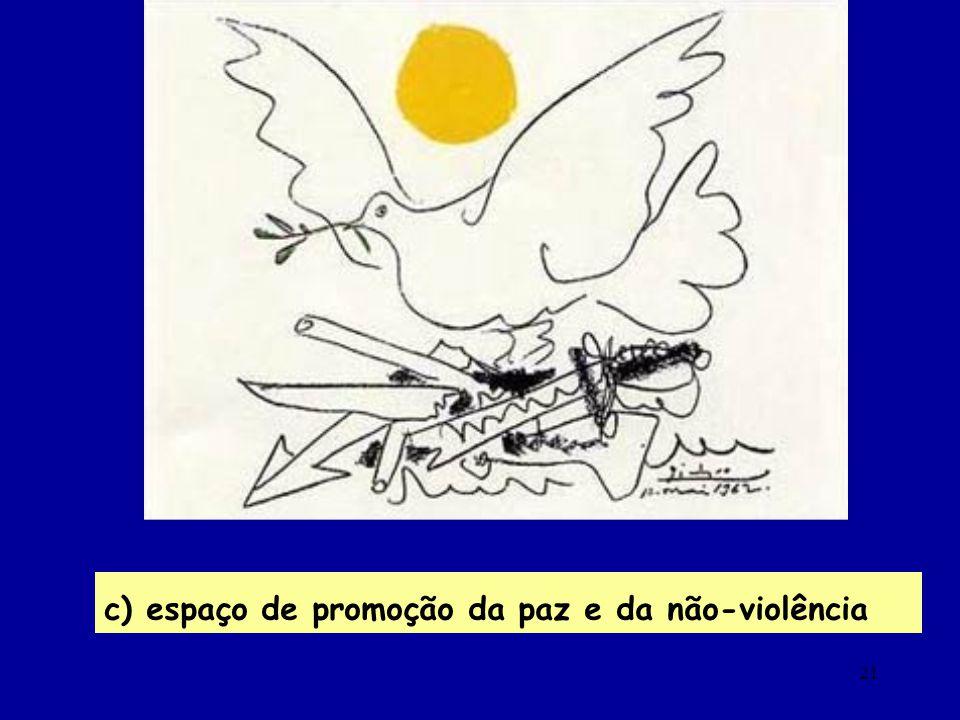 21 c) espaço de promoção da paz e da não-violência