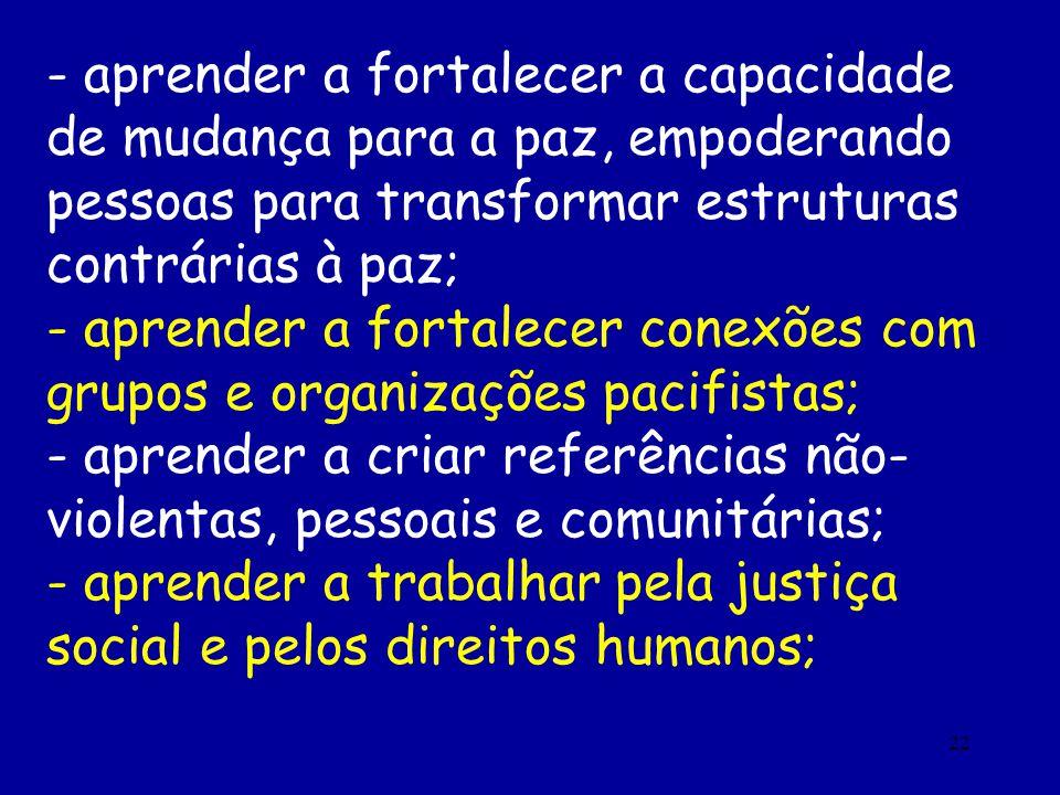 22 - aprender a fortalecer a capacidade de mudança para a paz, empoderando pessoas para transformar estruturas contrárias à paz; - aprender a fortalec